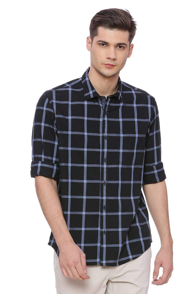 BASICS SLIM FIT ALLURE BLUE CHECKS SHIRT-18BSH37361