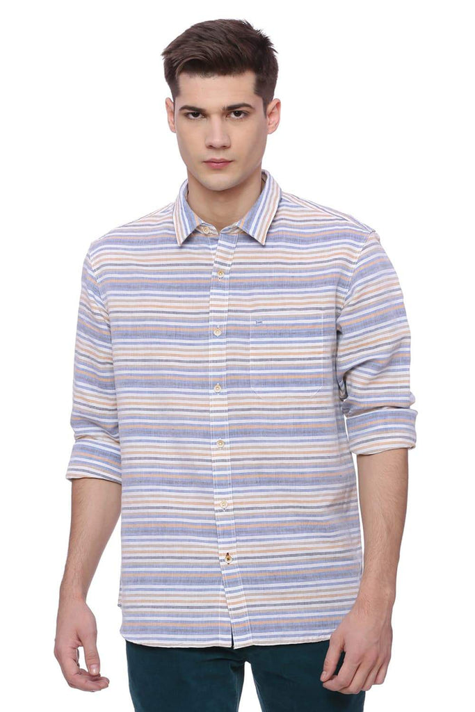 BASICS SLIM FIT ALLURE BLUE WEFT STRIPES SHIRT-18BSH37177 (4491047272529)