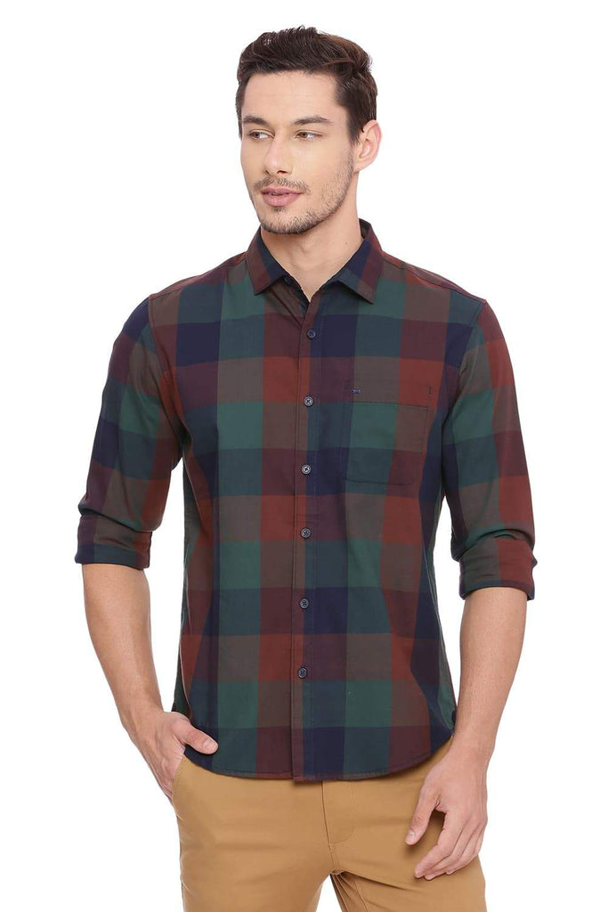 BASICS SLIM FIT ALPINE GREEN CHECKS SHIRT-18BSH38710 - BasicsLife