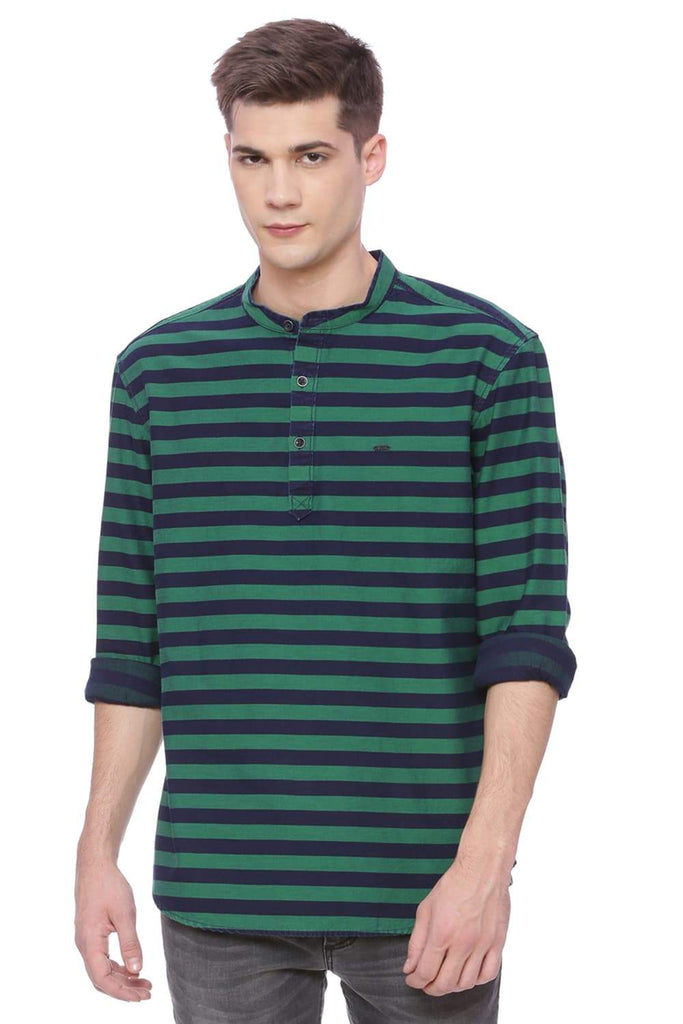BASICS SLIM FIT AMAZON GREEN WEFT STRIPES SHIRT-18BSH37384 (4491050287185)