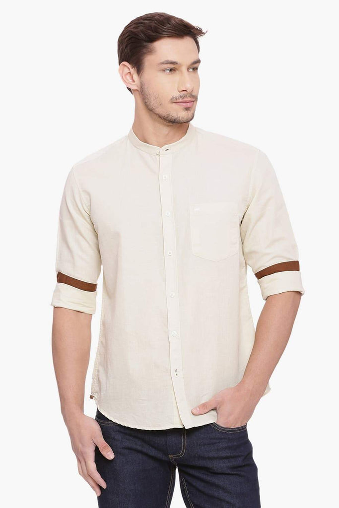 BASICS SLIM FIT ANGORA COTTON LINEN SHIRT-18BSH38472 (4491124768849)
