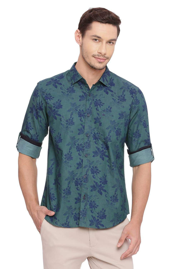 BASICS SLIM FIT ANTIQUE GREEN PRINTED SHIRT-18BSH39203 (4491130339409)