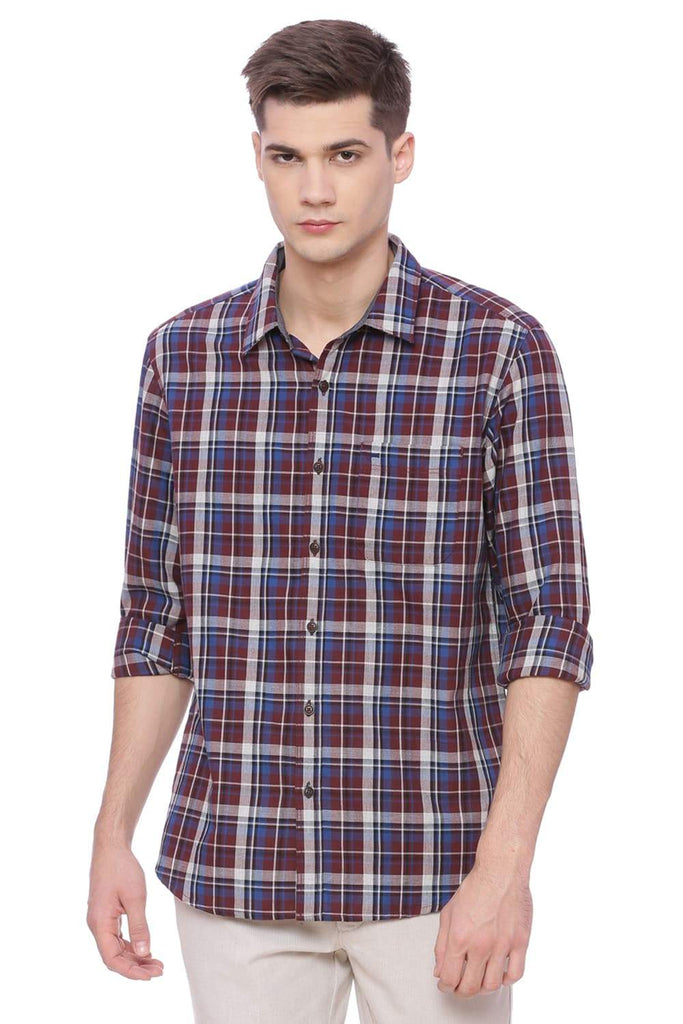 Basics Slim Fit Apple Maroon Checks Shirt Front
