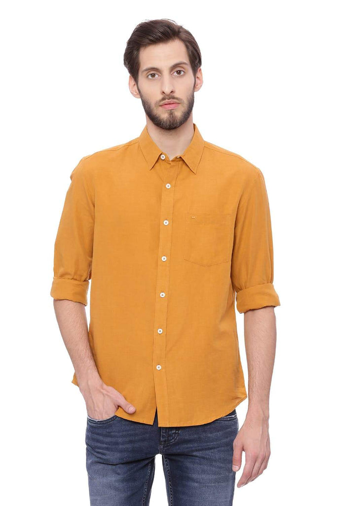 Basics Slim Fit Apricot Orange Cotton Linen Shirt Front