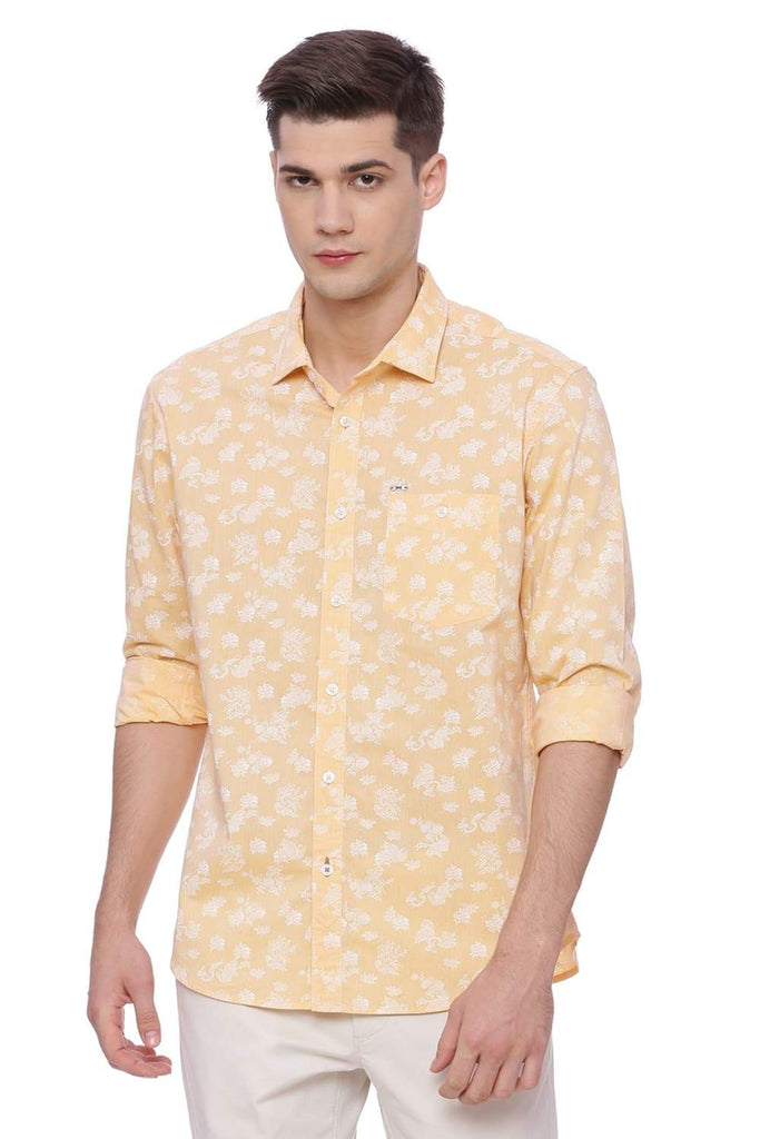 BASICS SLIM FIT APRICOT SHERBET PRINTED SHIRT-18BSH37284 (4491063853137)