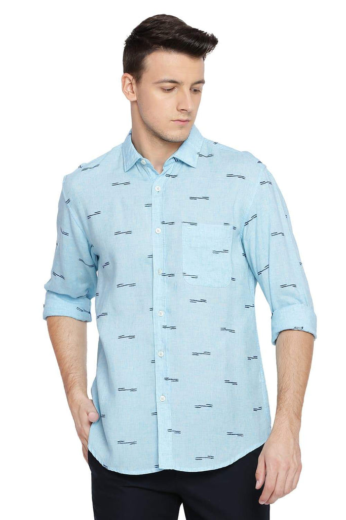 BASICS SLIM FIT AQUATIC AQUA EXTRA WEFT SHIRT-18BSH38934