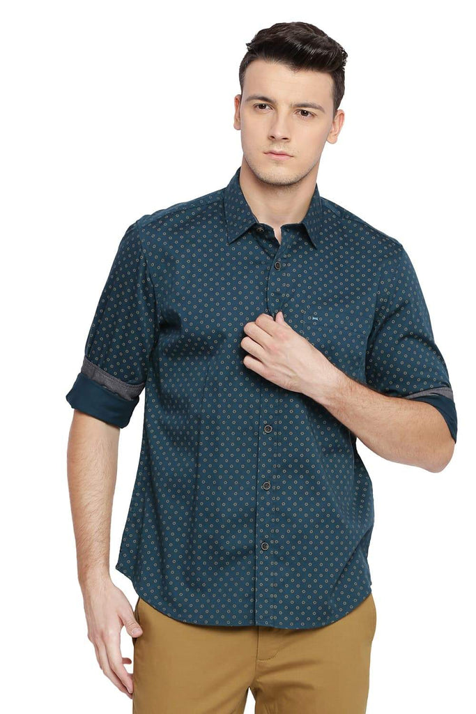 BASICS SLIM FIT BALSAM GREEN PRINTED SHIRT-18BSH39142