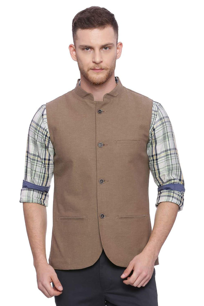 BASICS SLIM FIT  BANDHGALA ANTIQUE BRONZE BROWN JACKET-18BJK37702 (4491039014993)