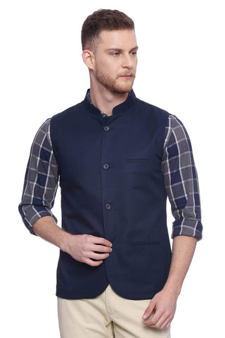 BASICS SLIM FIT  BANDHGALA SALUTE NAVY JACKET-18BJK38254 (4491039408209)