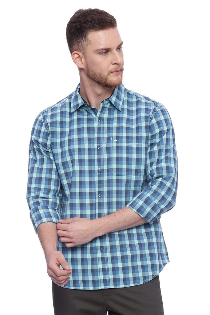 BASICS SLIM FIT BEACH GLASS AQUA CHECKS SHIRT-18BSH37636 (4491078697041)