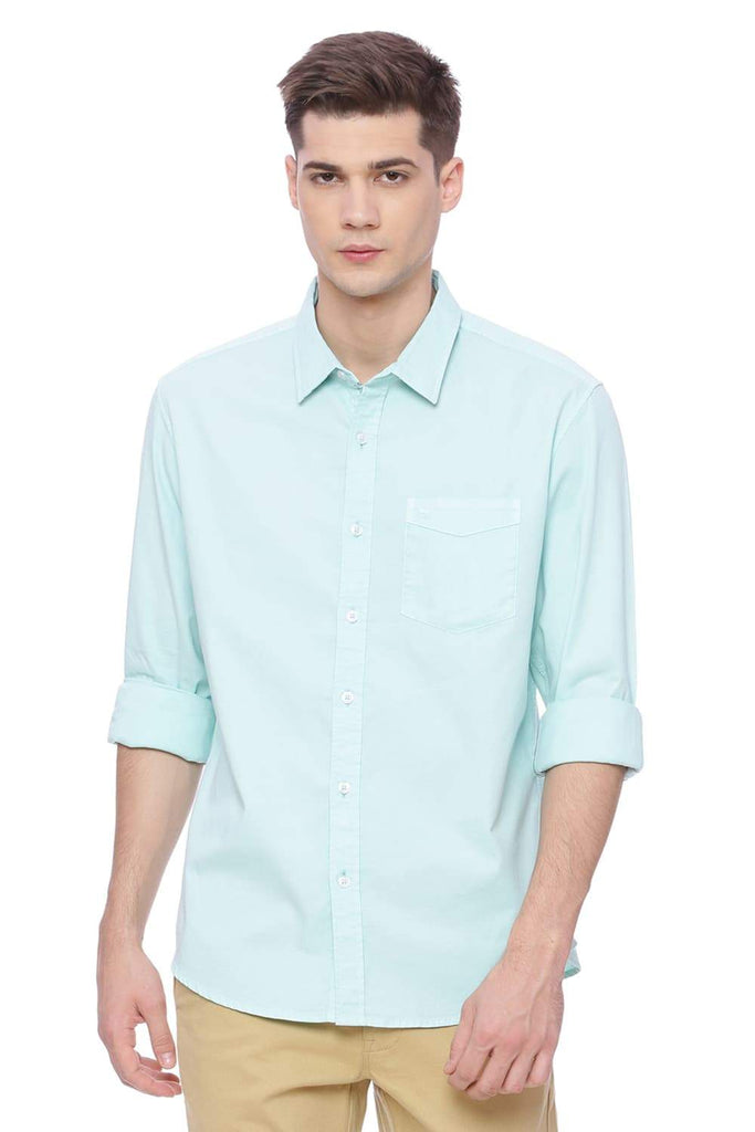 BASICS SLIM FIT BEACH GLASS DOBBY STRETCH SHIRT-18BSH37195 (4491081220177)