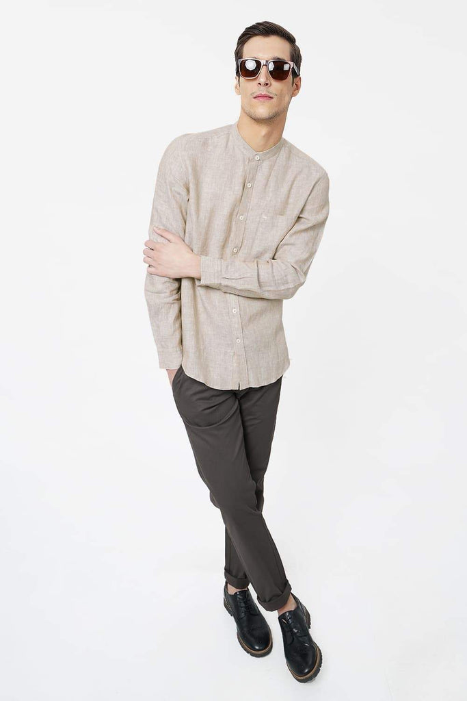 BASICS SLIM FIT BEIGE LINEN SHIRT-17BCSH38134 (4491113267281)