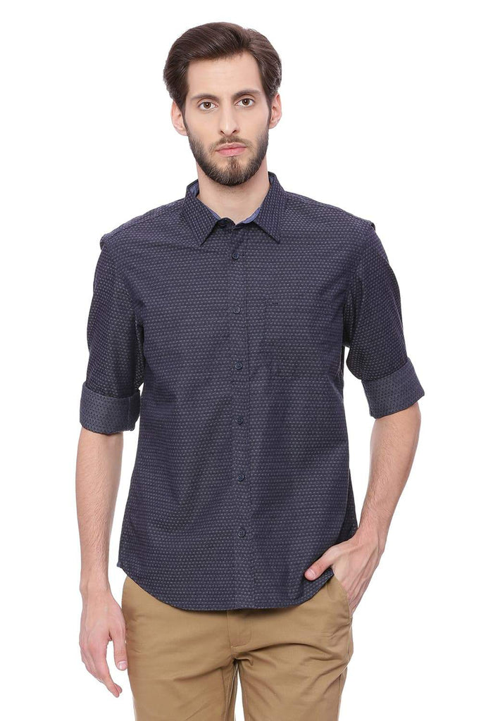BASICS SLIM FIT BERING NAVY DOBBY SHIRT-18BSH38785 - BasicsLife