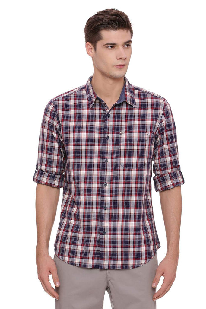 Basics Slim Fit Biking Red Checks Shirt Front