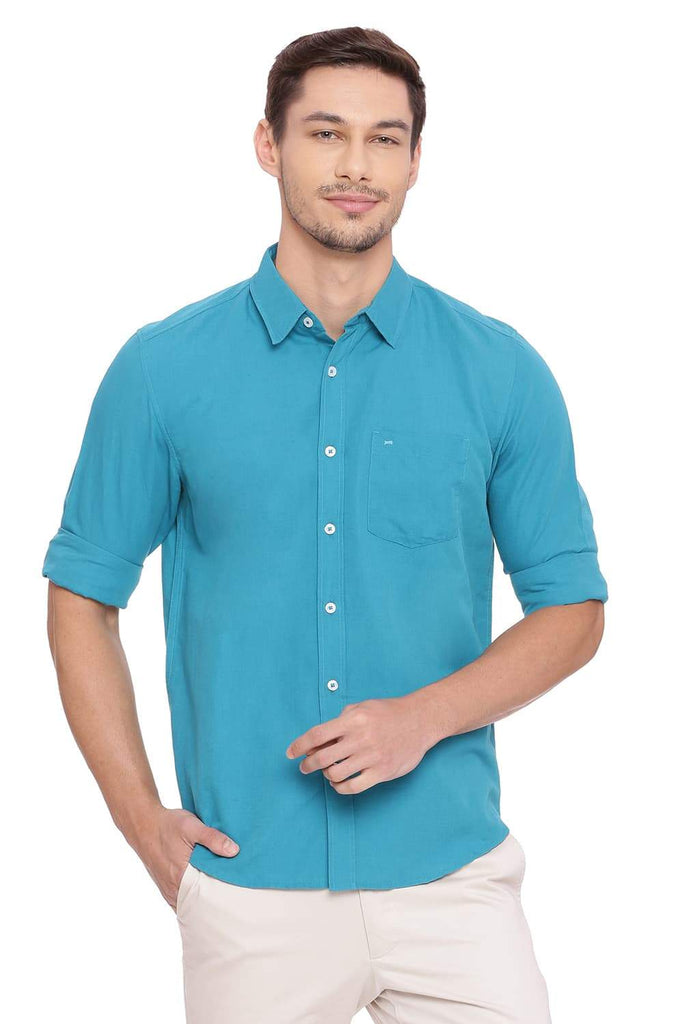 BASICS SLIM FIT BISCAY TURQUOISE COTTON LINEN SHIRT-18BSH38576 (4491223302225)
