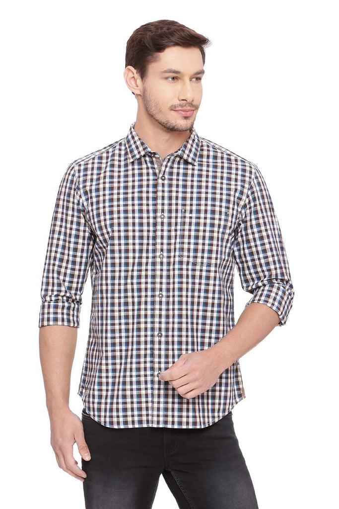 BASICS SLIM FIT BISON BROWN CHECKS SHIRT-18BSH38772