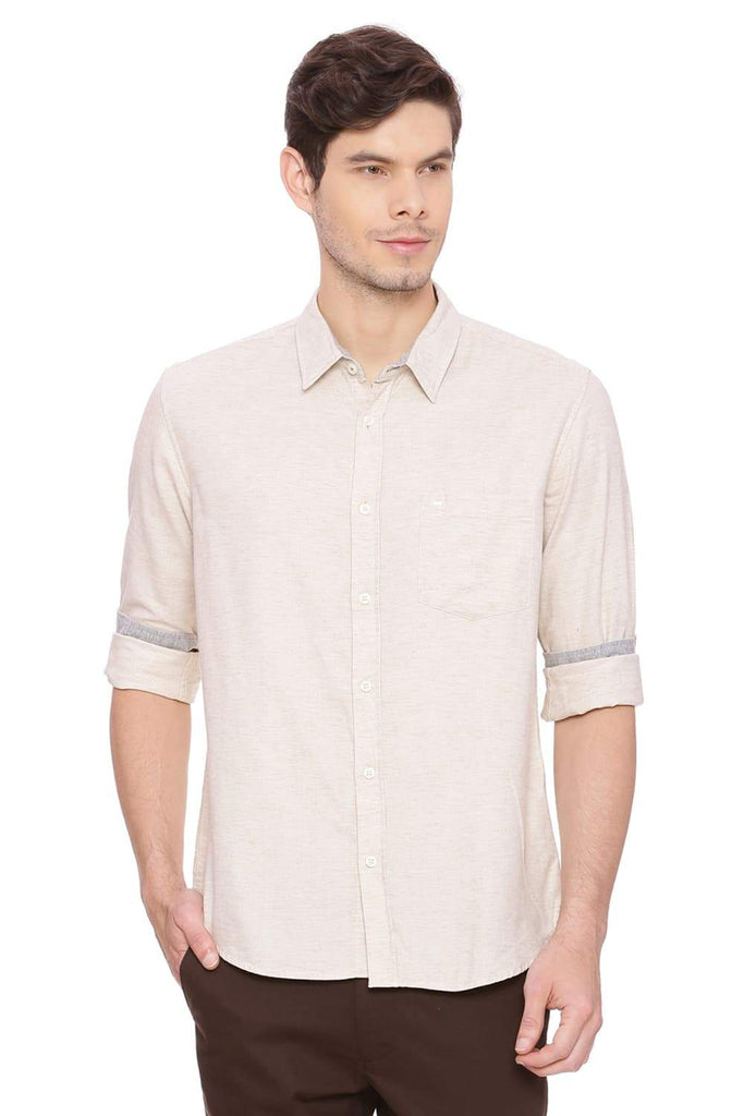 Basics Slim Fit Bleached Sand Chambray Shirt Front