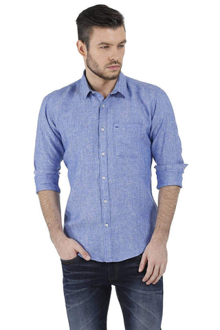 BASICS SLIM FIT BLUE CHAMBRAY LINEN SHIRT-17BCSH38218 (4490922491985)