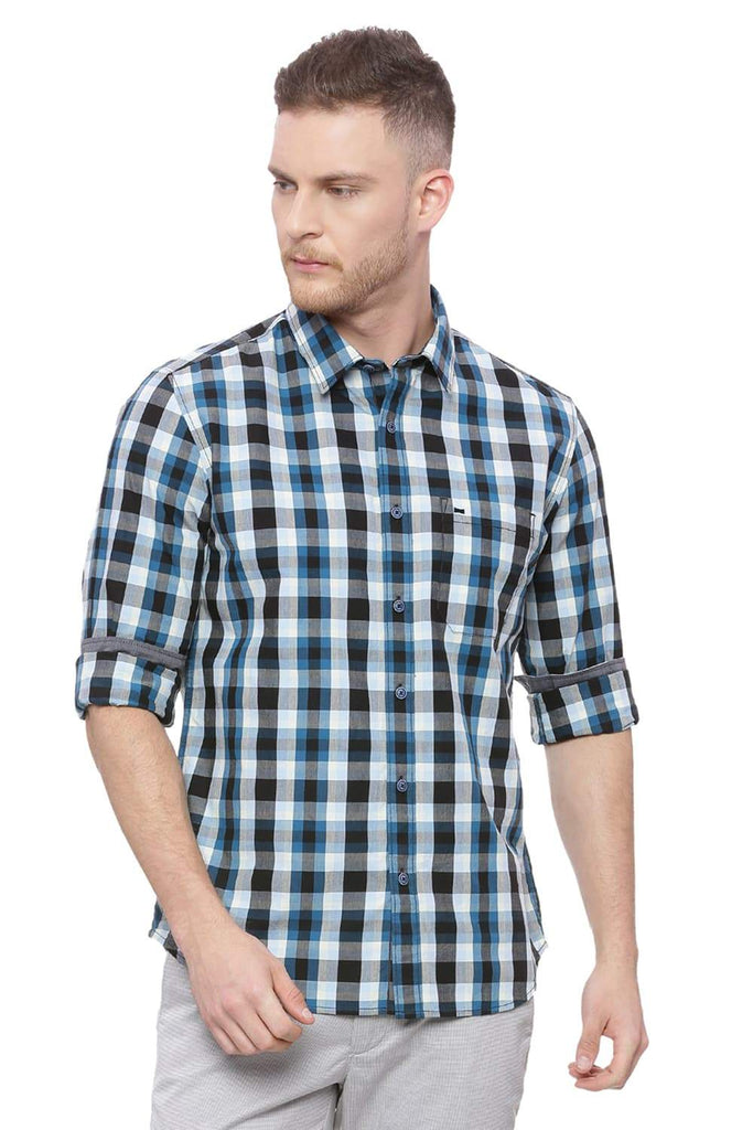 BASICS SLIM FIT BLUE CORAL CHECKS SHIRT-18BSH37226 (4491059331153)
