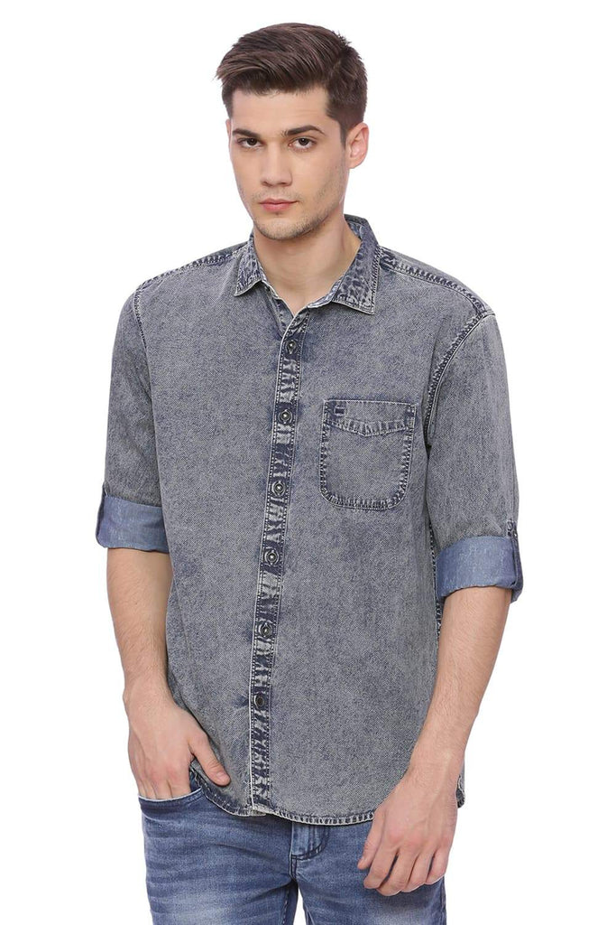 BASICS SLIM FIT BLUE FOG INDIGO PRINTED SHIRT-18BSH37110 (4491043569745)