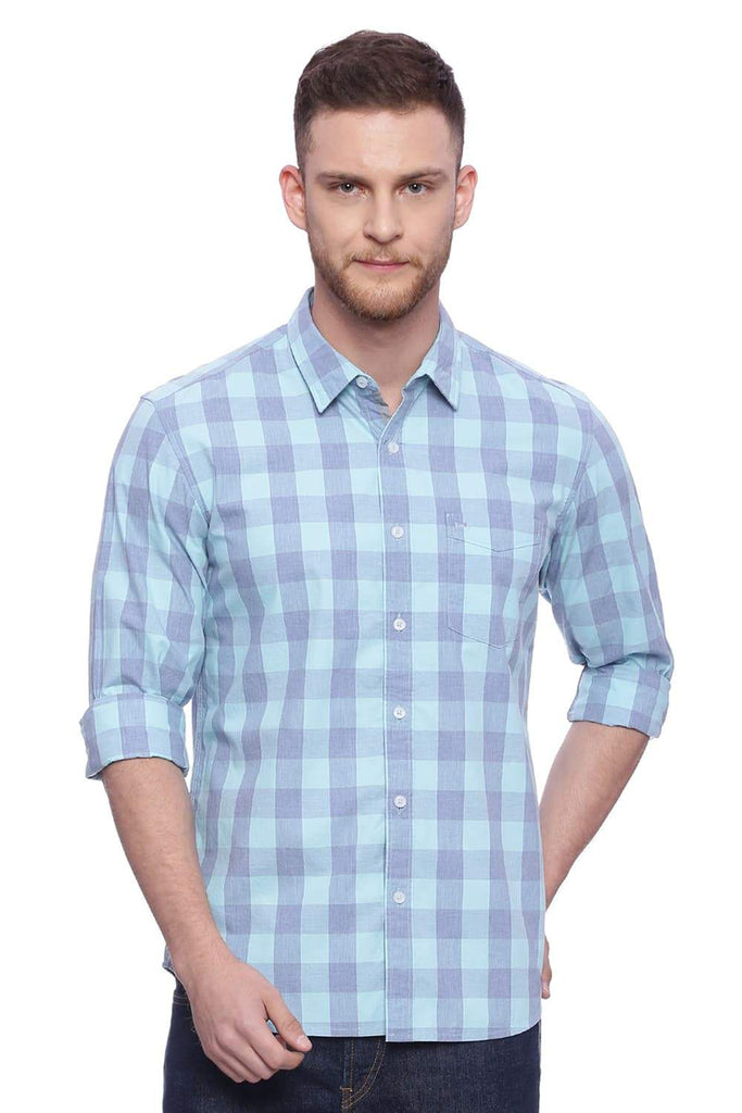 BASICS SLIM FIT BLUE GROTTO CHECKS SHIRT-18BSH37606