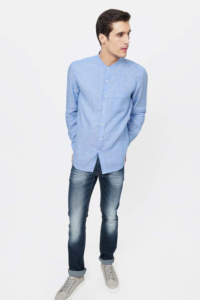 BASICS SLIM FIT BLUE LINEN SHIRT-17BCSH38138 (4491113529425)