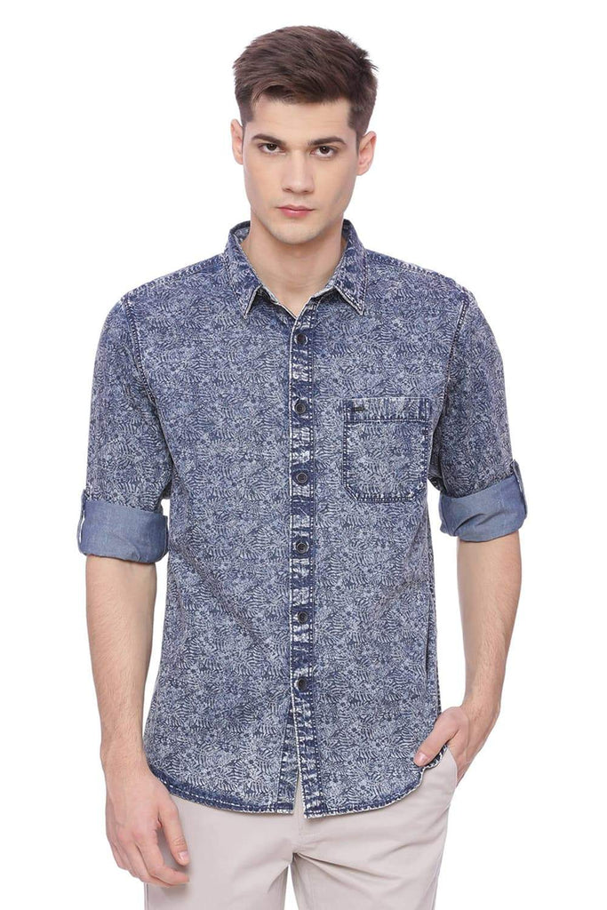 Basics Slim Fit Blue Mirage Printed Shirt Front