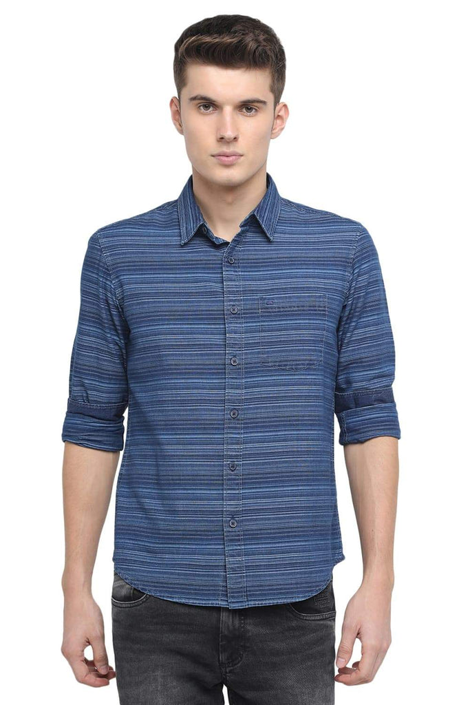 BASICS SLIM FIT BLUE MOOD WEFT STRIPES SHIRT-18BSH39028 (4491554848849)