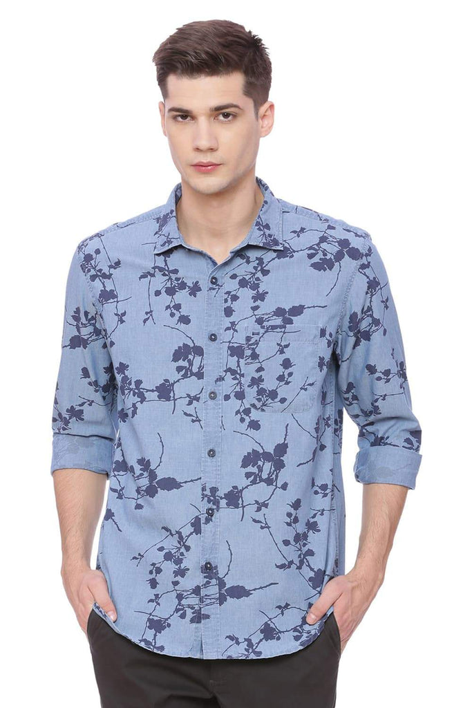 Basics Slim Fit Blue Nights Printed Shirt Front