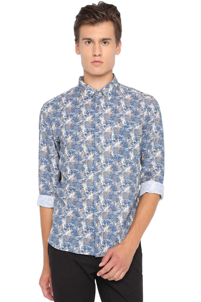 BASICS SLIM FIT BLUE SHADOW PRINTED SHIRT-19BSH41071 - BasicsLife
