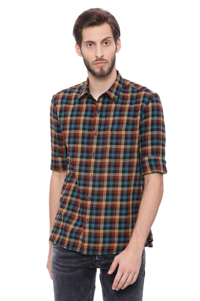 BASICS SLIM FIT BOMBAY BROWN TWILL CHECKS SHIRT-18BSH38678 (4491285790801)