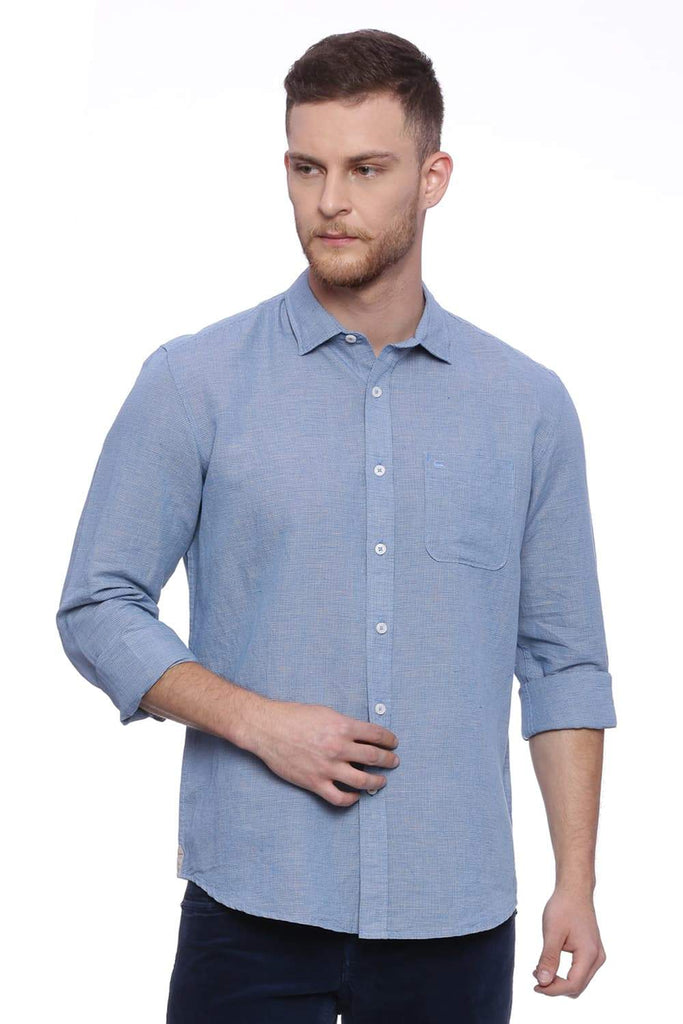 Basics Slim Fit Bonnie Blue Checks Shirt Front