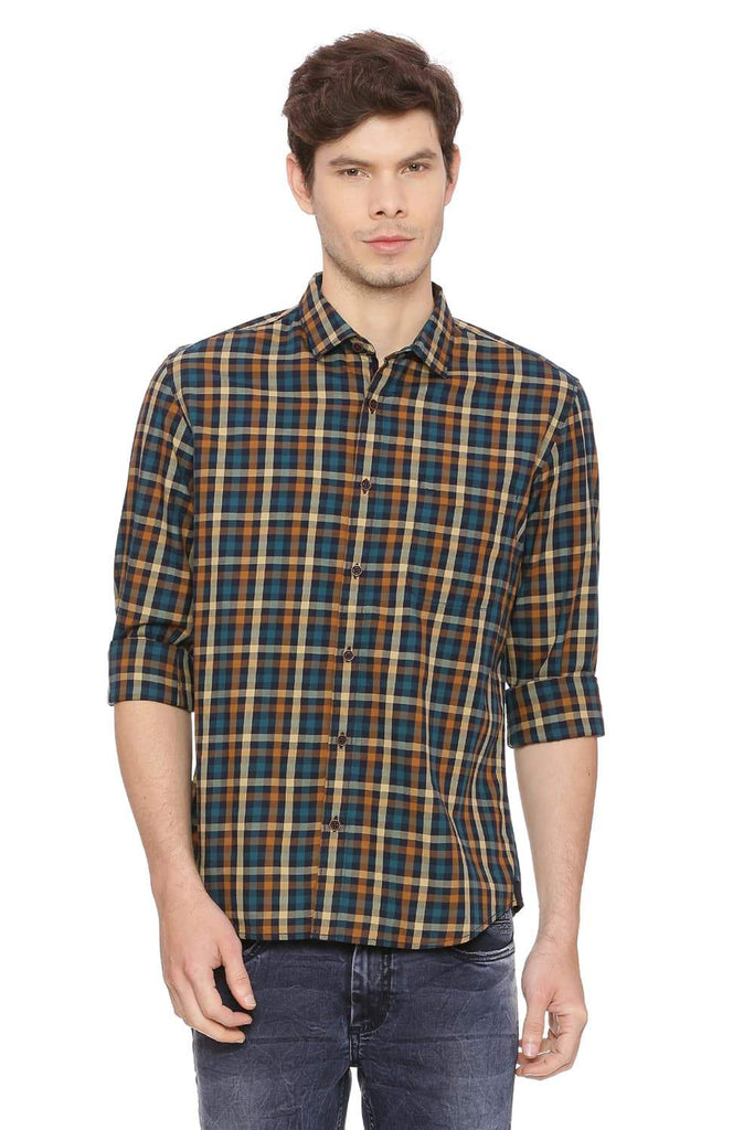 BASICS SLIM FIT BOULDER YELLOW CHECKS SHIRT-18BSH38693 (4491300470865)