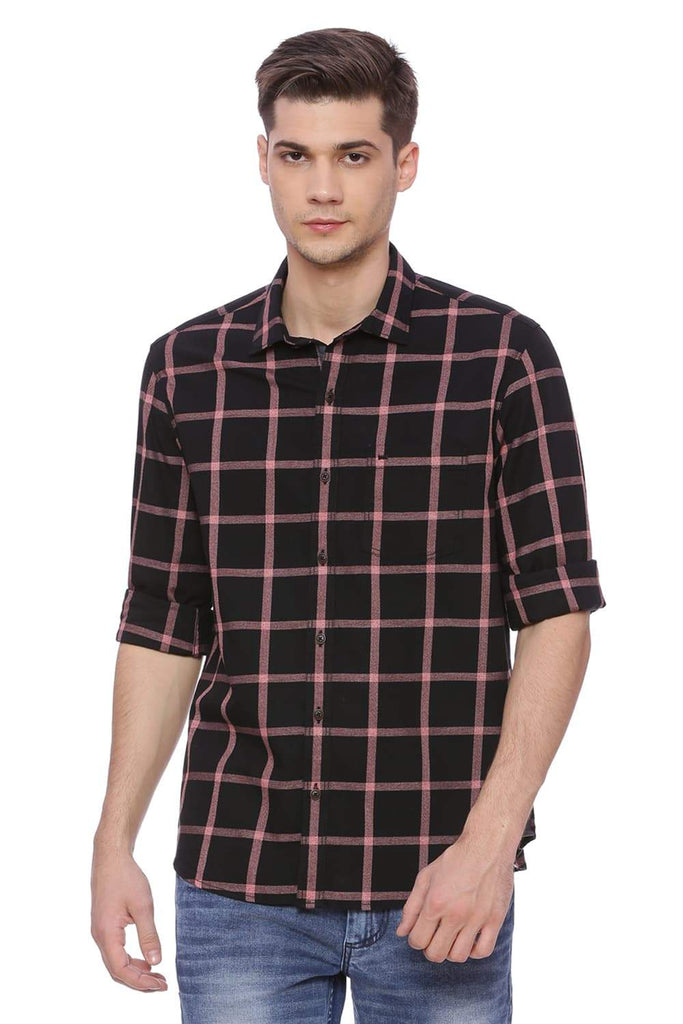 BASICS SLIM FIT BRICK RED CHECKS SHIRT-18BSH37362 (4490987700305)