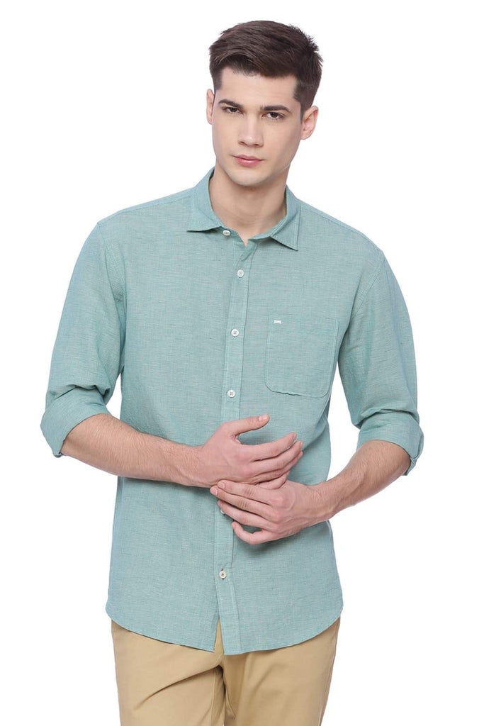 BASICS SLIM FIT BRIGHT TURQUOISE CHECKS SHIRT-18BSH38246 (4491097702481)
