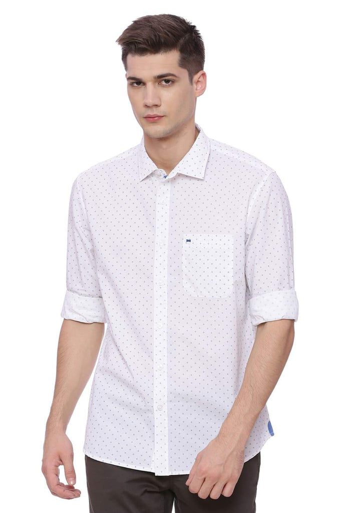 Basics Slim Fit Bright White Shirt Front