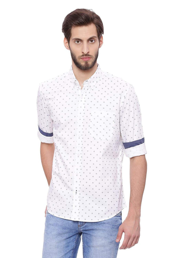 BASICS SLIM FIT BRIGHT WHITE PRINTED SHIRT-18BSH39207 (4491131748433)