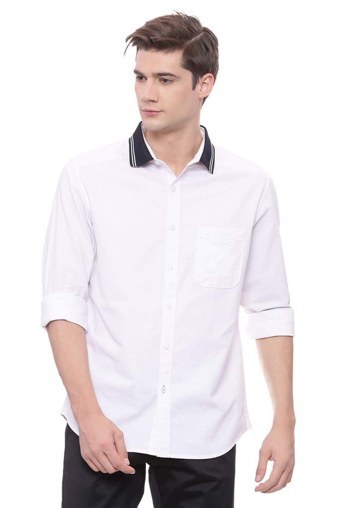 BASICS SLIM FIT BRIGHT WHITE RIB COLLAR OXFORD STRETCH SHIRT-18BSH37194 (4491105566801)