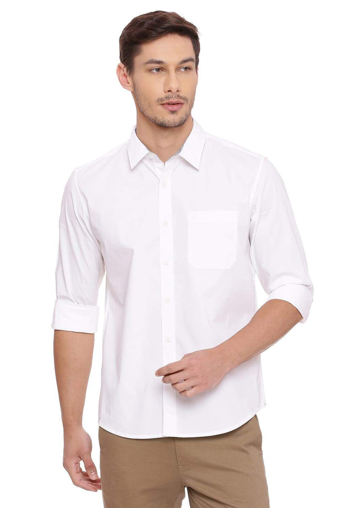 Basics Slim Fit Bright White Stretch Shirt Front
