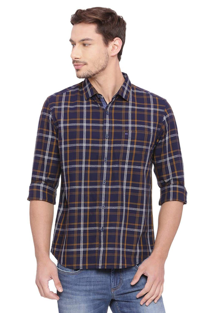 BASICS SLIM FIT BRONZE BROWN CHECKS SHIRT-18BSH38609 (4491262427217)