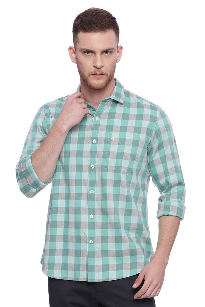 BASICS SLIM FIT BROOK GREEN CHECKS SHIRT-18BSH37420 (4491070832721)