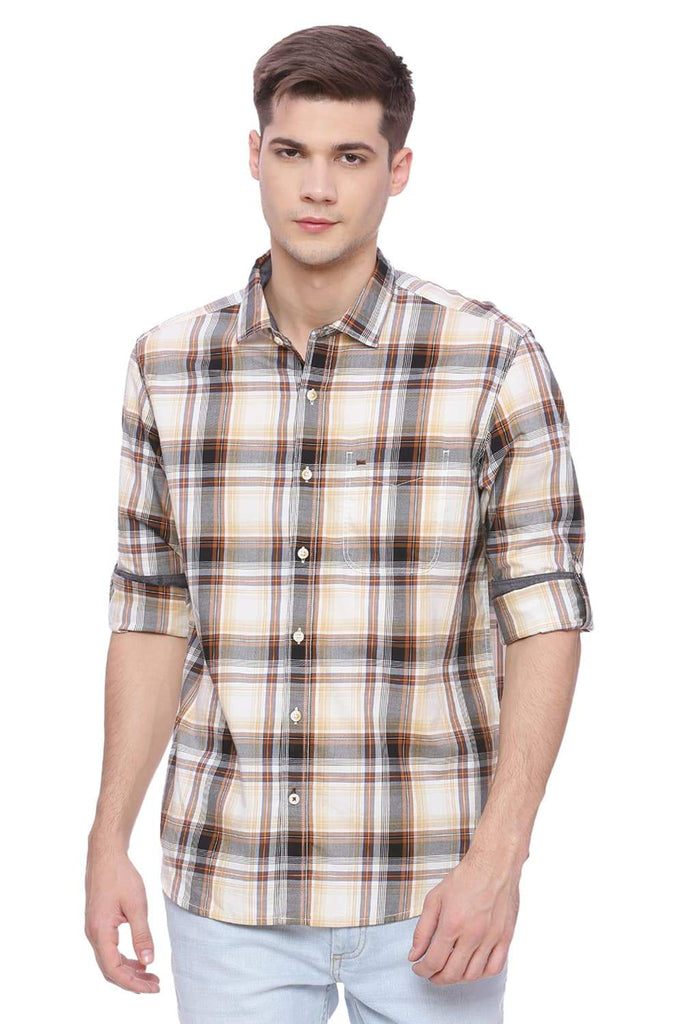 BASICS SLIM FIT BROWN SUGAR CHECKS SHIRT-18BSH37632 (4491078434897)
