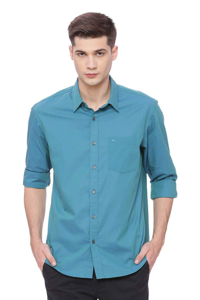 BASICS SLIM FIT CELESTIAL TURQUOISE CHAMBRAY SHIRT-18BSH37106 (4491028136017)