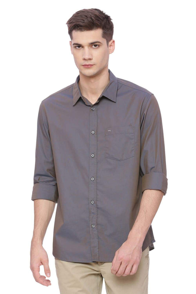 BASICS SLIM FIT CHARCOAL GREY CHAMBRAY SHIRT-18BSH37105 (4491027873873)