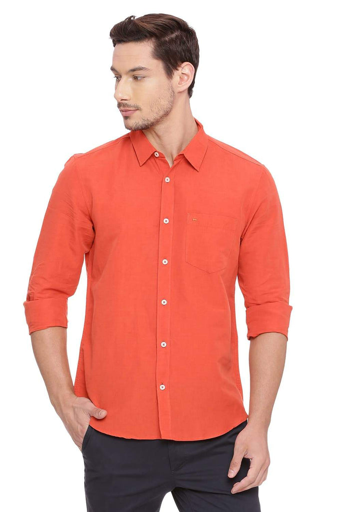BASICS SLIM FIT CHILI ORANGE COTTON LINEN SHIRT-18BSH38573