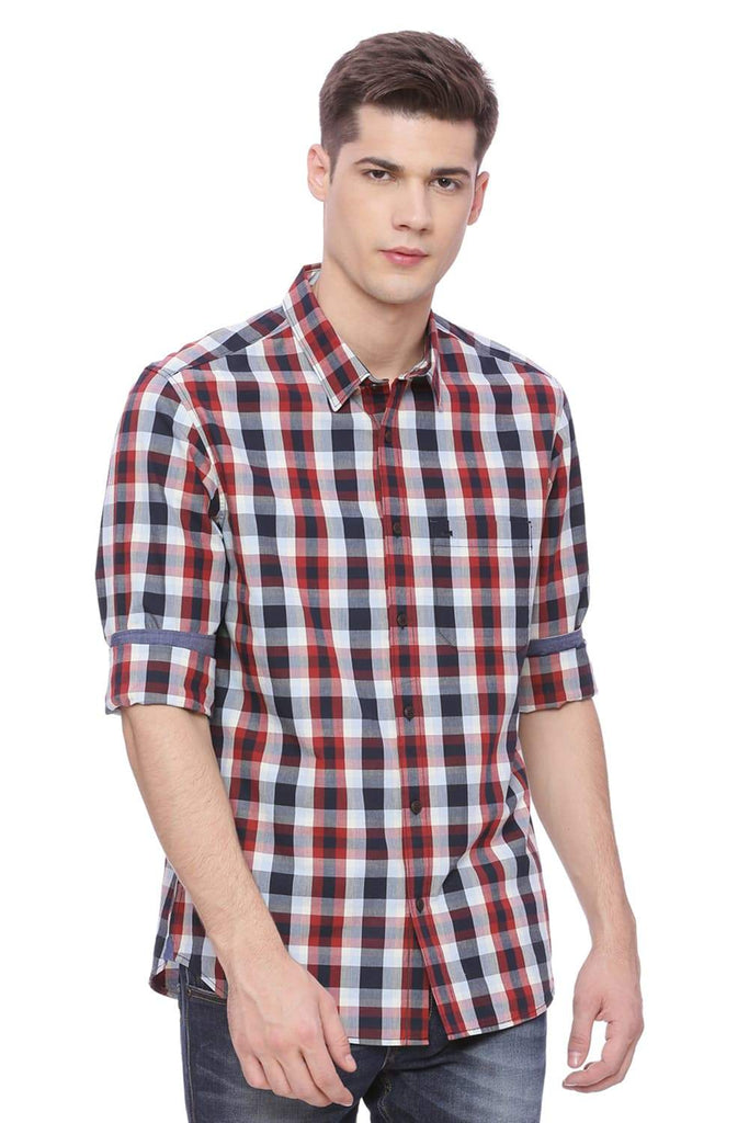 BASICS SLIM FIT CHILI PEPPER  RED CHECKS SHIRT-18BSH37227 (4491059462225)