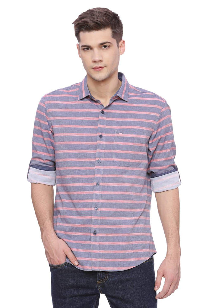 BASICS SLIM FIT CHINA NAVY STRIPED SHIRT-18BSH37379 - BasicsLife