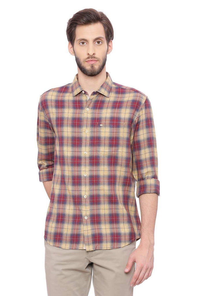Basics Slim Fit Chinese Red Checks Shirt Front