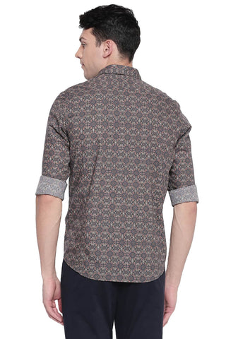 BASICS SLIM FIT CHOCOLATE BROWN POPLIN DIGITAL PRINTED SHIRT-20BSH43239 - BasicsLife