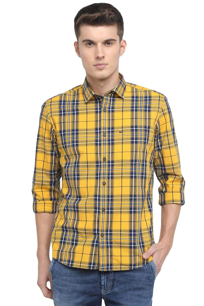 BASICS SLIM FIT CITRUS YELLOW BIG CHECKS SHIRT-18BSH38765 (4491554521169)
